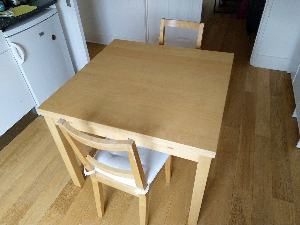 Extendable Dining Table Ikea Bjursta 90 129 168x90 Cm 2 Chairs Ingolf