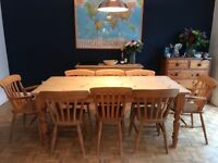 Pine Farmhouse Table with 8 chairs