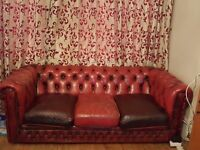 chesterfield vintage sofa and matching chairs