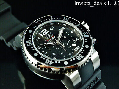Invicta Mens 52mm Grand Pro Diver OCEAN VOYAGE Chrono BLACK Dial Silver SS Watch