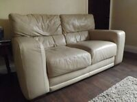 Faux leather double and two seater settees cream
