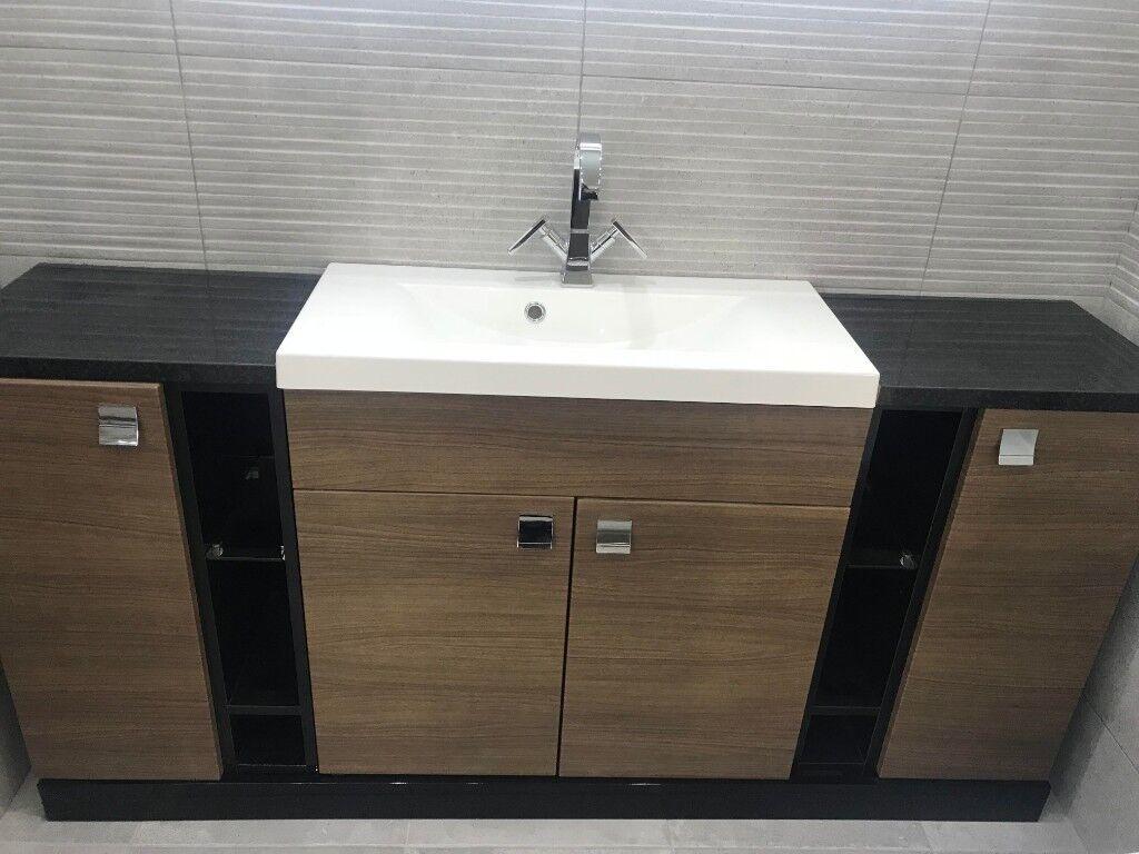 Symphony Wood Effect Bathroom Furniture Including Basin