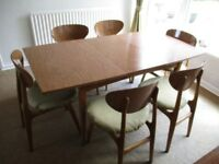 Retro Extending Dining Table with 6 chairs in a Teak laminated Finish 1960's Vintage