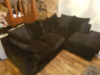 Crushed velvet black corner sofa