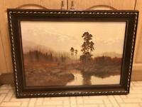 Dark wooden framed large landscape scenic picture