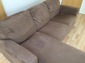3 seater suede sofa (including chaise longue) (Used)