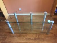 """Tempered glass TV stand - Silver/Glass finish suitable for ~48"""" Screen size"""