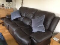 Brown leather recliner 3seater Sofa and Chair.