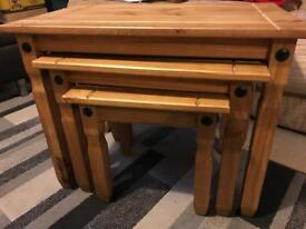 Corona Mexican pine nest of 3 tables