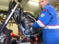 Motorcycle mechanic, service, maintenance, delivery, MOT transport