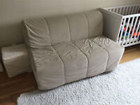 Beige Ikea Lycksele Double Sofa Bed Settee Futon Couch Daybed possible delivery