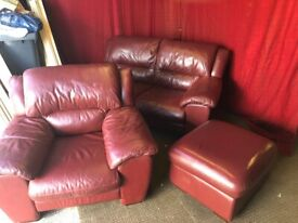 Red 2 seater sofa with arm chair and foot stool Can deliver