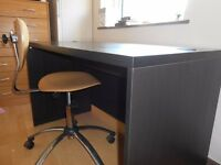 Solid Black Wooden Desk W/ Free Chair