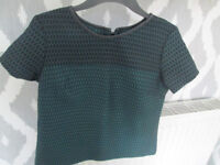 LADIES NEXT TOP - BLACK/TEAL WITH FAUX LEATHER TRIM TO NECK - SIZE 12 - EXC COND