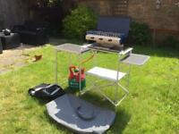 Camping 2 ring cooker with grill, table, gas bottle and carry cases