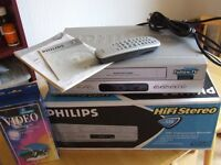NOW REDUCED! Almost new, in box, QUALITY PHILIPS VCR + Extras ONLY £35 ONO!!!!
