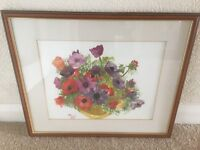 Signed Water Colour of Anemones