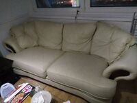 CREAM ITALIAN REAL LEATHER SOFA SUIT, THREE SEATER, TWO SEATER, ARM CHAIR ANF STOOL GOOD CONDTION