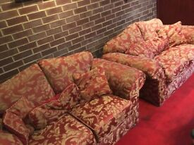 Sofa pair in pattern red