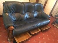 Luxury Bespoke Leather Sofa and Two Arm chairs Made With Real Oak
