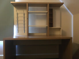IKEA Malm Oak veneer desk with shelving/filing add on