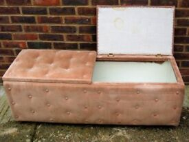 "BEIGE UPHOLSTERED TOY BOX - 46½"" LONG X 15"" WIDE X 17½"" HIGH - KEEP THEIR TOYS ALL IN ONE PLACE"