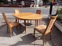 G Plan Retro Teak Round Dining table extends to a large Oval 1970's vintage