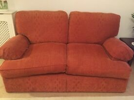 Marks and Spencer Terracotta Two Seater Sofa length 165 CM with arm covers