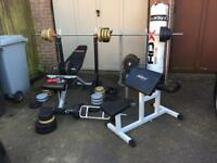 Assorted weightlifting gym equipment - York fitness