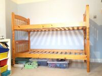 Bunk Bed - wooden, can be split into 2 beds, no ladder and safety rail