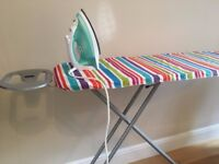 BOSCH IRON, IRONING BOARD & 2 CLOTHES DRYING RACKS