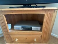 SOLID PINE CORNER TV UNIT WITH CUPBOARD