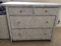Solid wood white chest of drawers shabby chic
