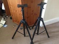 2x Tripod Speaker Stands, Black, 90cm-1.5m