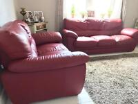 Red comfortable leather sofas 3 + 2