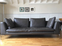 3 Seater Sofa and 2 Seater Chaise Long suit in Grey Leather