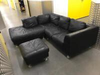 Black leather L shape sofa with foot stool, Free delivery