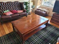 Huge Marquetry inlaid Coffee Table with Storage Level and 2 Large Drawers