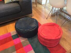 Pair of authentic leather Moroccan pouffes