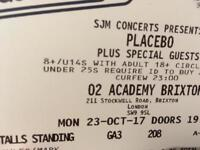 Placebo gig tickets SOLD OUT London 23.08 23rd October