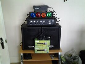 amp and speakers two shure mic`s one smoke machine and one set of lights