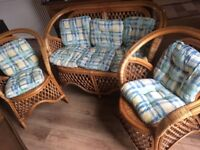 Sturdy 3 piece conservatory furniture set sofa and 2 chairs
