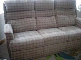 HSLRipley Sofa in plaid oatmeal, new in December 2017, cost 1375, ideal upright seating position