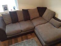 Suede and fabric corner sofa