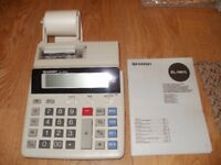 SHARP EL-1801L ELECTRONIC PRINTING CALCULATOR (MAINS OR BATTERY) IN ORIGINAL BOX. NEVER USED. £20.