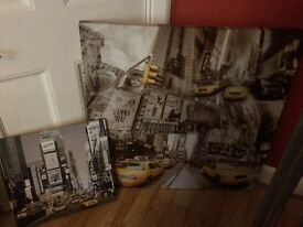 Two NYC canvas pictures £15 large £5 small