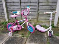 Hello Kitty Girls Kids Bike age 2 to 5 years Free Scooter