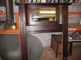 VINTAGE HARDWOOD FIRE SURROUND WITH MIRROR