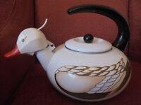 Duck shaped Enamel Kettle.