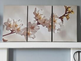 Large Sepia Blossom Flower Floral Triptych Canvas Wall Art Picture